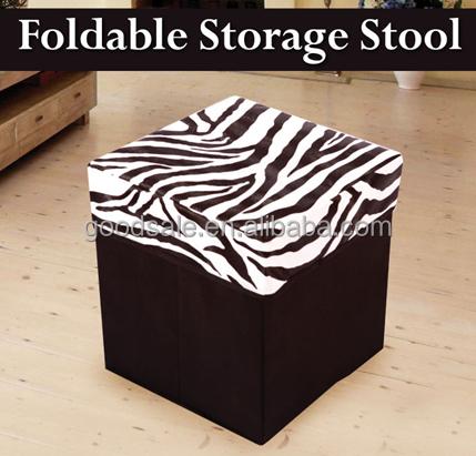 Zebra Print Foldable Ottoman Pouff Leather Storage Container