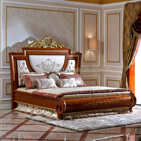 High end italian design solid wood classical bedroom