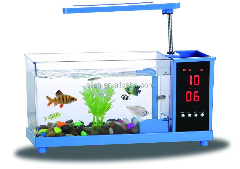 Fashionable usb fish tank aquarium with lcd alarm clock for Usb fish tank