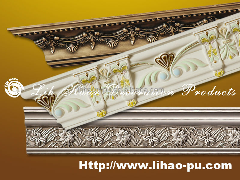 Home decor polyurethane foam crown molding pu cornice for Advanced molding and decoration