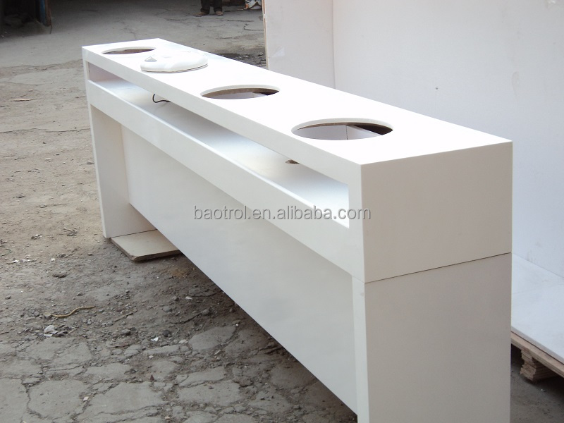 White solid surface salon equipment nail table for sale for Solid salon