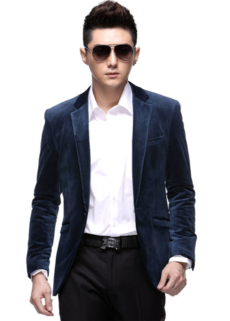 2014 Top Quality One Button New Style Blue Suede Mens Blazers ...