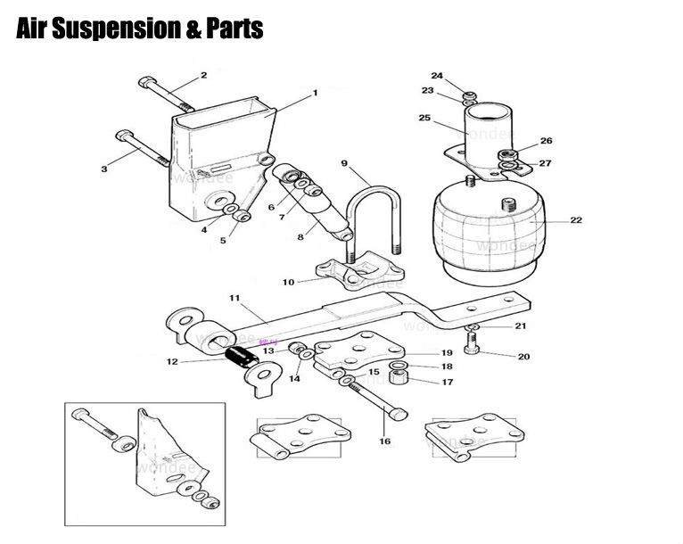 good quality lift and without lift 9t air bag suspension assembly for bpw axle