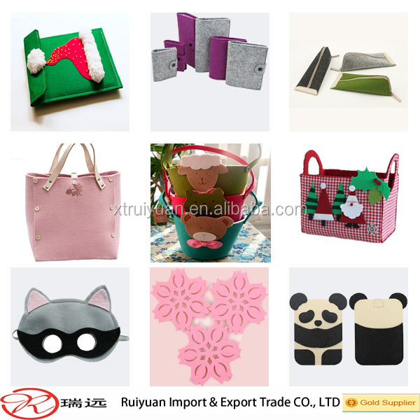 Laser engraving butterfly felt bag with leather handle