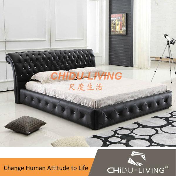 Europese stijl klassiek zwart lederen diamant bed 3018 buy product on - Eenvoudig slaapkamer model ...