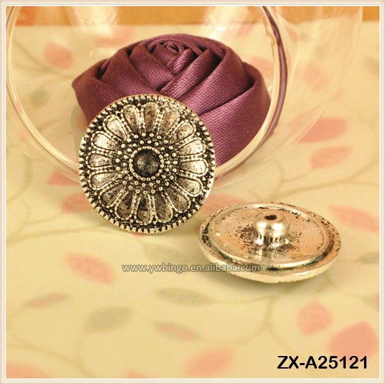 Antique Silver Sun Flower Noos@ Press Metal Snap Button