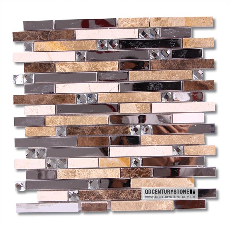 beveled mirror tiles backsplash brown metal mix glass