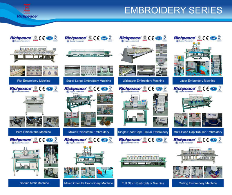 2014 Brand new products Richpeace Multi-function(Flat/Cap/Tubular3 functions in one) Single Head Embroidery Machine