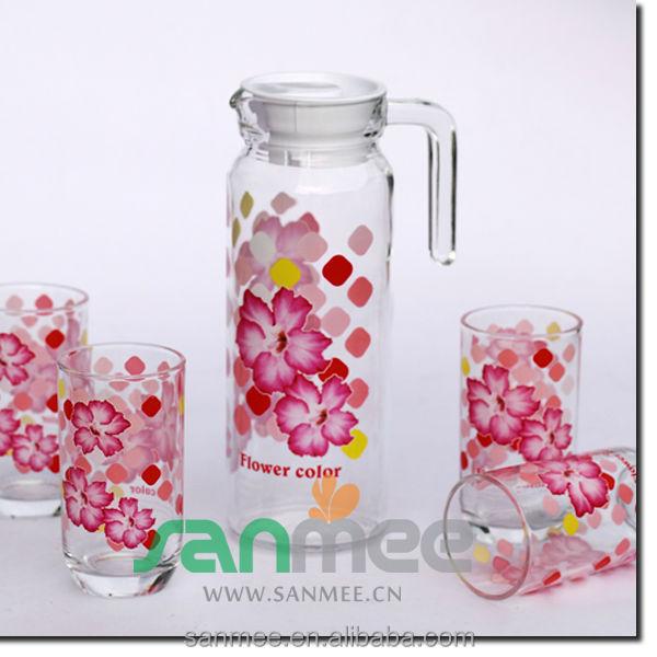 7pcs Drink Glass Set 1l Glass Jug Tableware Water Glass