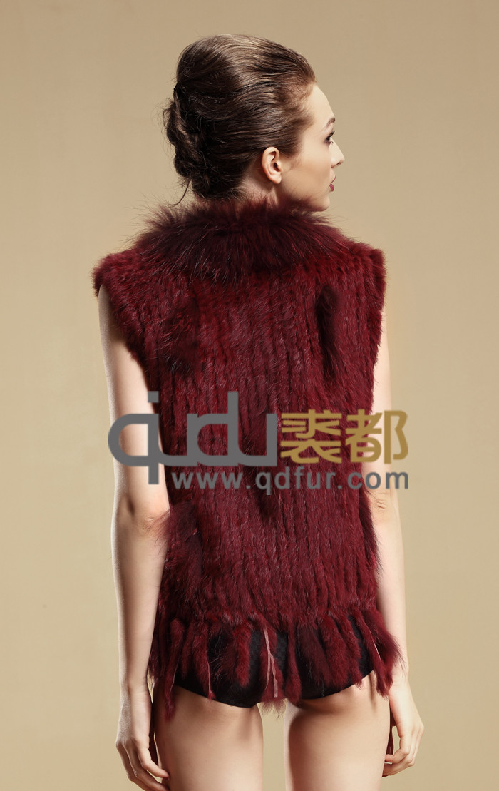 2016 QDMJ001 Dresses for Women Knitting Rabbit Fur Vest Raccoon Fur Trimming Tassels Female Natural Slim Waistcoat Lady Gilet