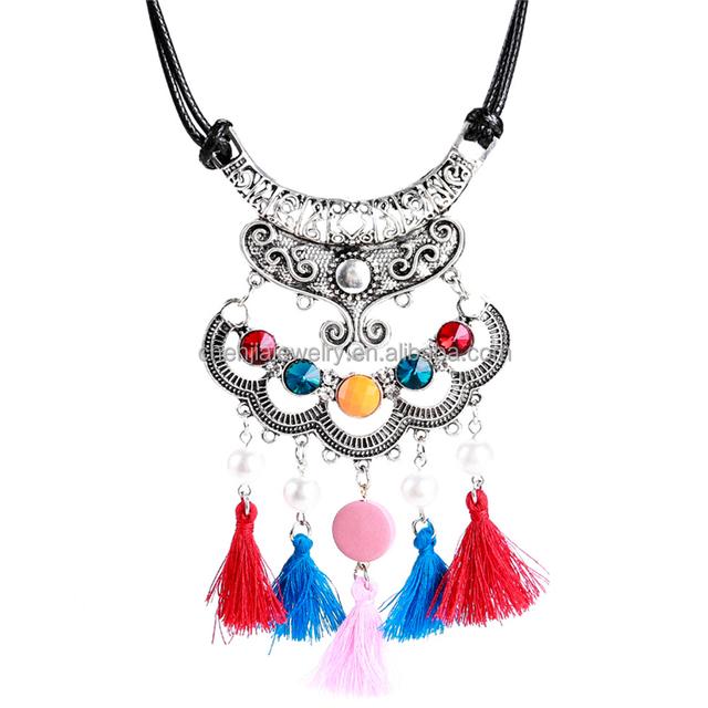 12bd65d3923f Boho Vintage negro chapado en oro antiguo indio al por mayor collar Tribal  de borla de