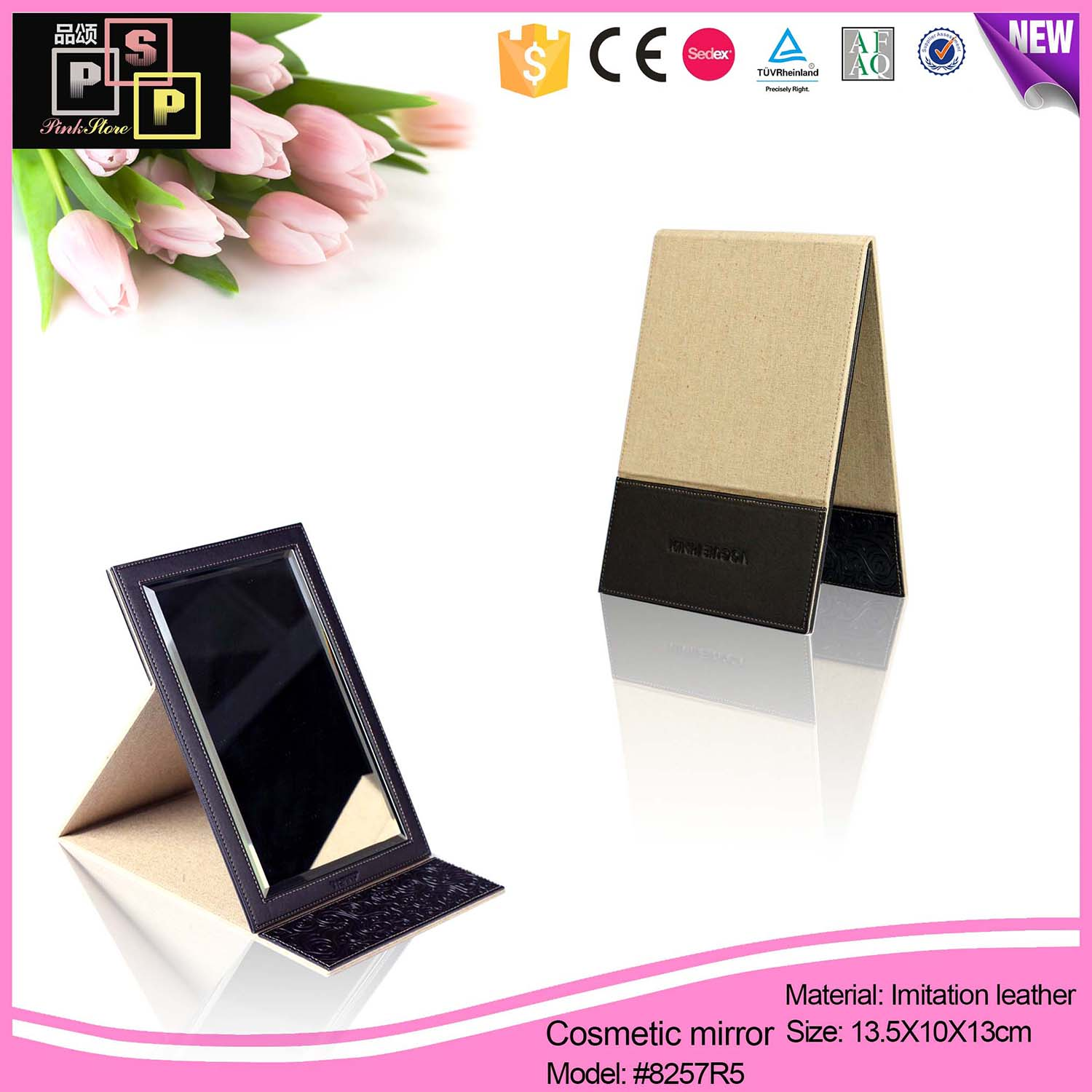 PU leather round mini mirror for promotion gift