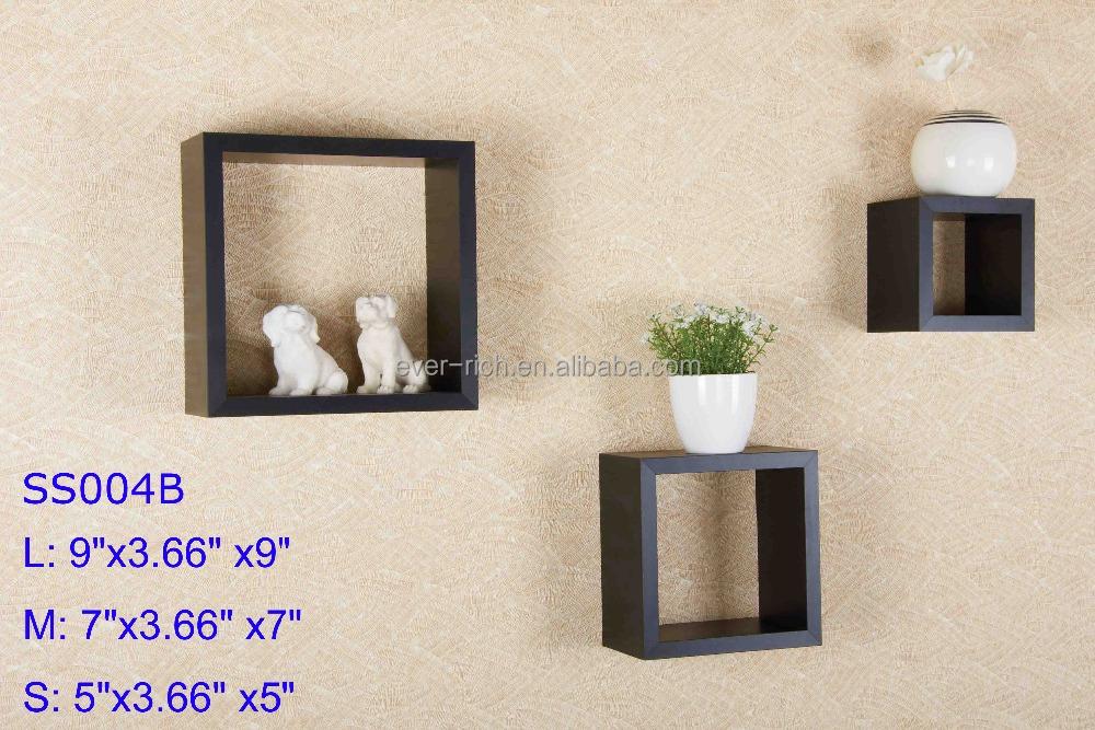 Ronde hoek kubus plank mdf drijvende kubus wandplank decoratieve wandplank houten kasten product - Deco leisteen muur ...