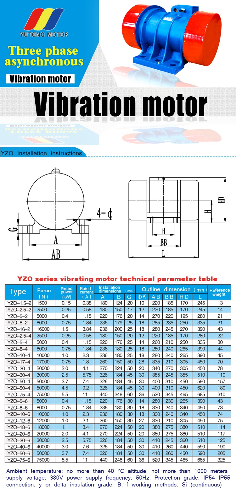 2.5kw 30kn 3.5hp 4pole Three Phase Induction Electric Vibrator Motor ...