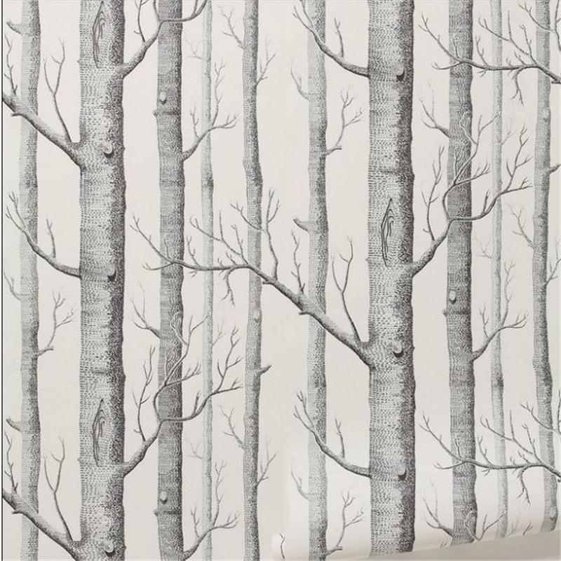 Birch Tree Pattern Non Woven Woods Wallpaper Roll Modern
