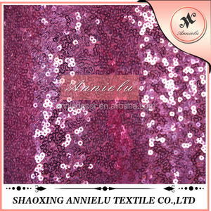 Factory cheap hot pink embroidered sequin fabric