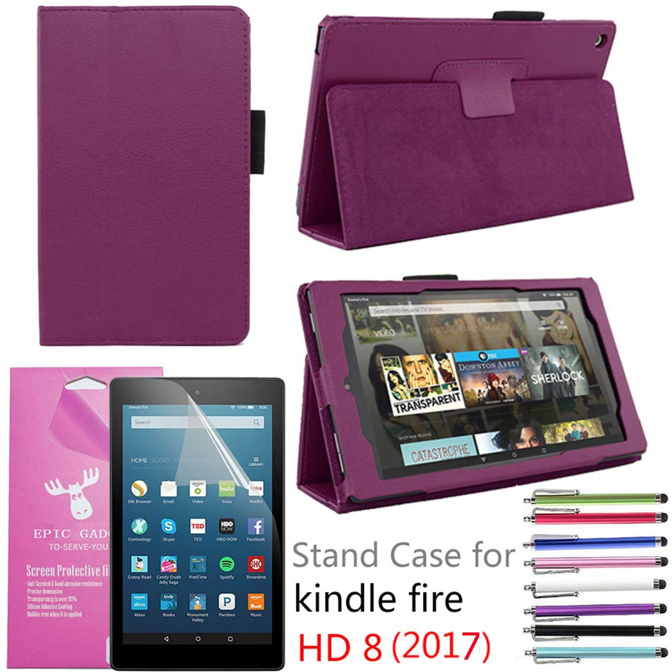 """Amazon Fire HD 8"""" 2017 Case, EpicGadget(TM) Auto Sleep/Wake 7th Gen Fire HD 8 PU Leather Folding Folio Case with Built in Stand For Fire HD 8 inch (2017 Release) + 1 Screen Protector + 1 Pen (Purple)"""