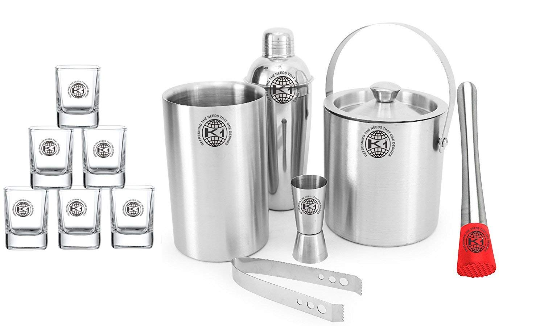 King International 100% Stainless Steel Bar Set | Bar Tools | Bar Accessories Set Of 12 Pieces Includes 6 Shot Glasses | Muddler | Ice Bucket | Tong |Cocktail Shaker | Peg Measurer | Wine Cooler |