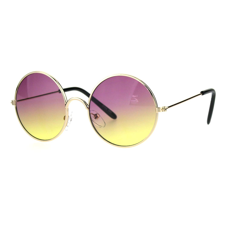8ae1eea1b9f Get Quotations · Kids Child Size Hippie Round Circle Lens Tie Dye Gradient  Metal Sunglasses