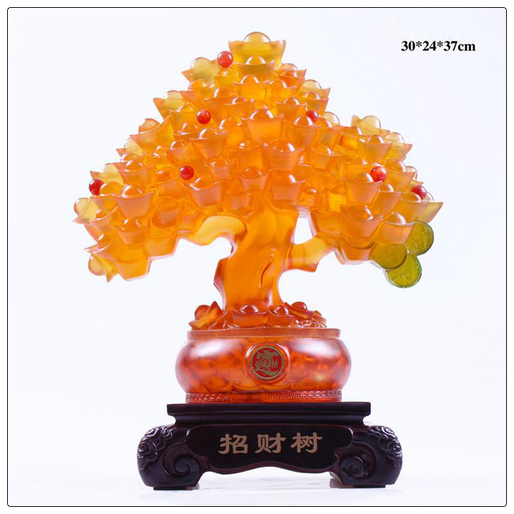 24k golden color Resin Money tree with LED light