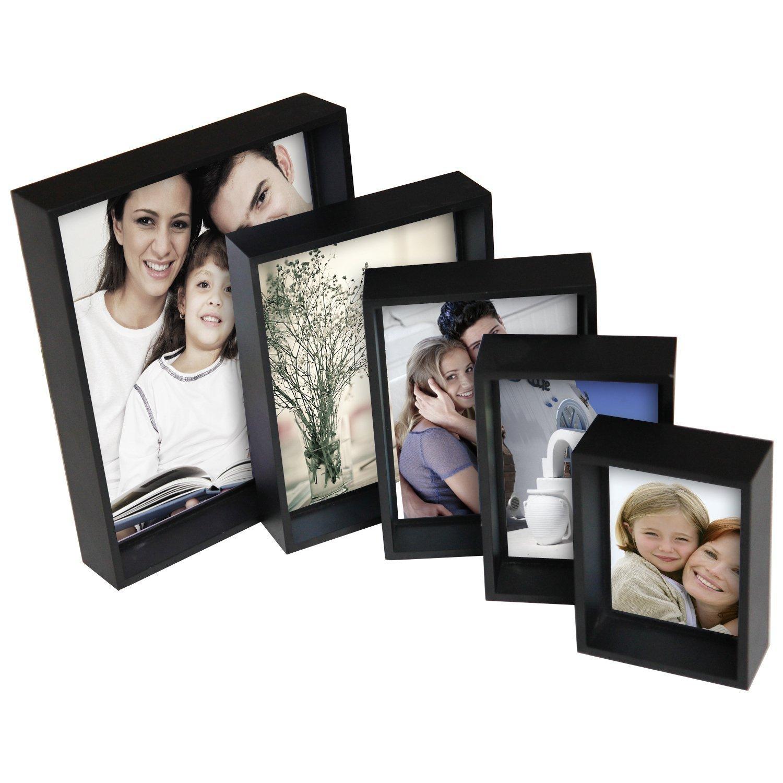 "Adeco PF0035 Decorative Black Wood 5-Piece Picture Photo Frame Set of 3.5x5"", 4x6"", 5x7"", 6x8"", 8x10"""