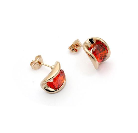 Dubai Gold Jewelry Earring Ruby Stone Stud Earring Light Weight