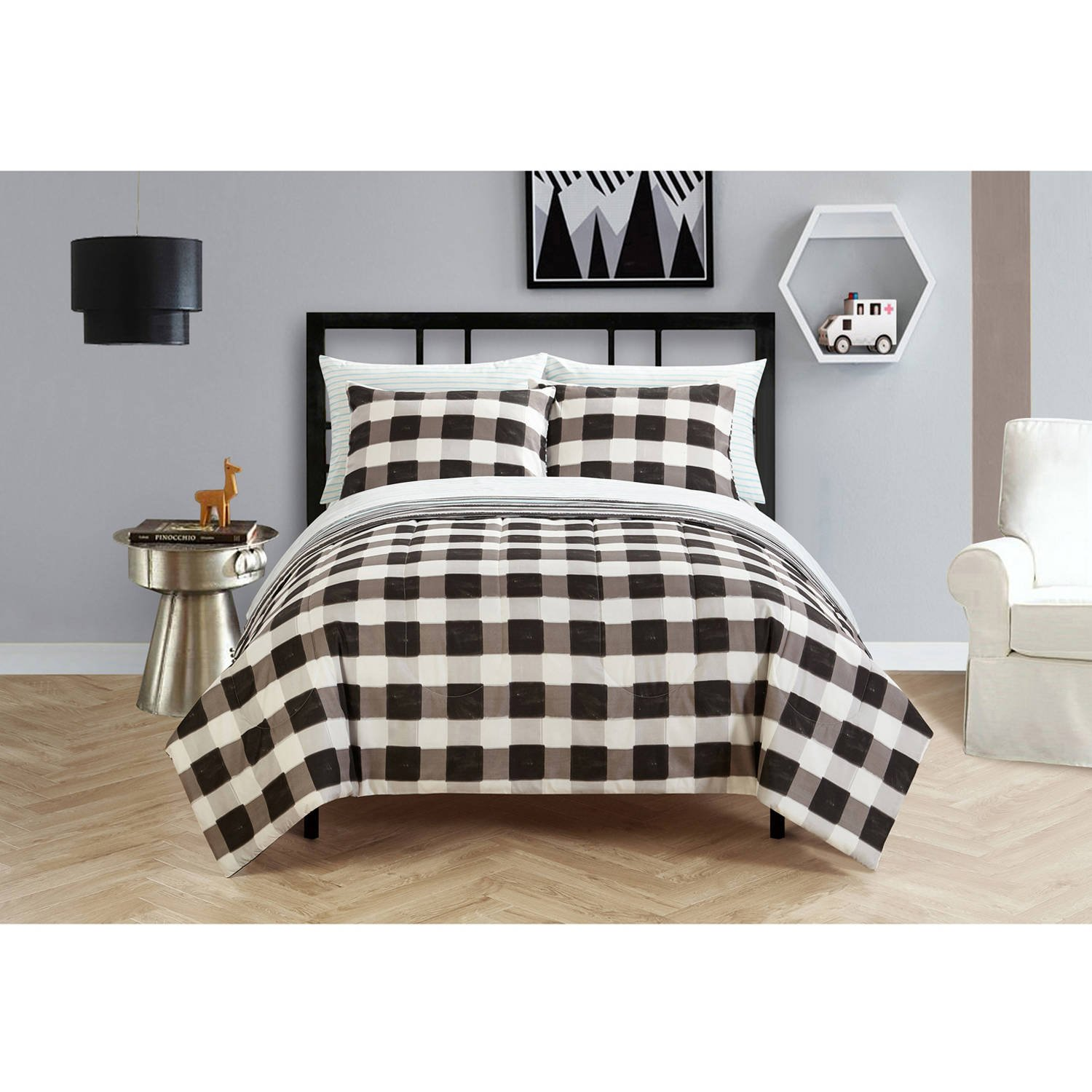 Your Zone Teen Plaid Classic Black and White Stripes Checkered Reversible Bedding Twin/Twin XL Comforter for Boys (5 Piece in a Bag)
