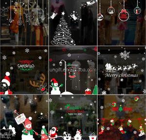New arrival cute snowman snowflake Christmas window glass sticker Christmas party decoration store wallpaper sticker
