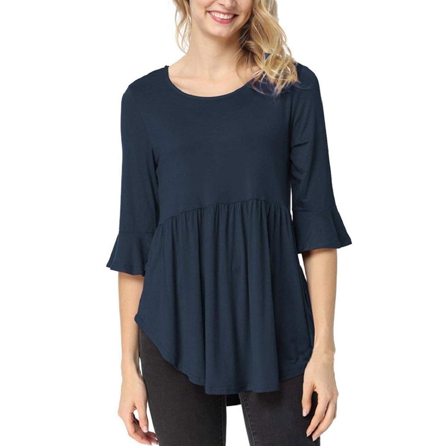 90033674a21 Get Quotations · GONKOMA Womens Tops Womens Blouse T-Shirt Ruffle Half  Sleeve Round Neck Tops Casual Blouse