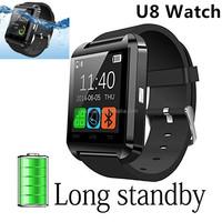 Black u8 Bluetooth Android Smart Mobile Phone U8 Wrist Watch sport water resistant bluetooth smart u8 watch