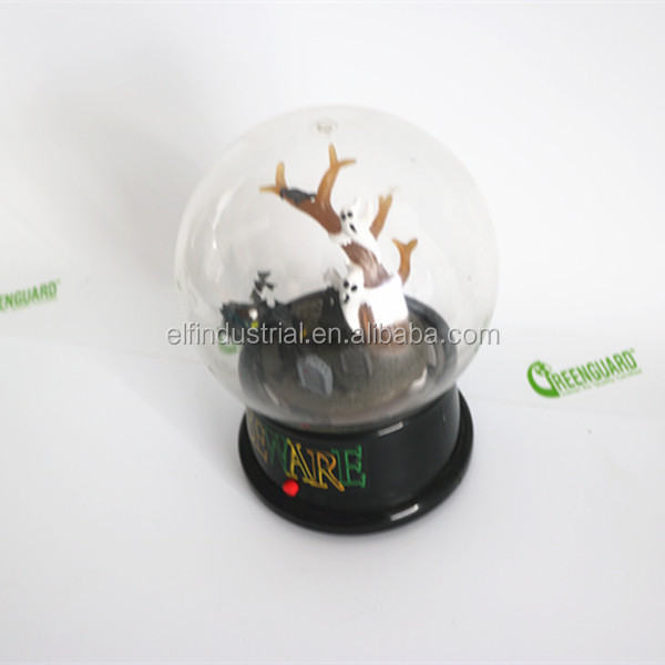 X-MERRY scary plastic music led lighted white witch snow globe halloween party decoration