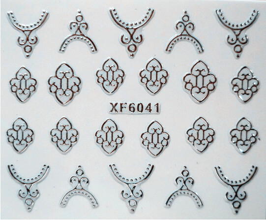 Hot Stamping Water Transfer printing Nail Sticker Silver nail stickers for girls