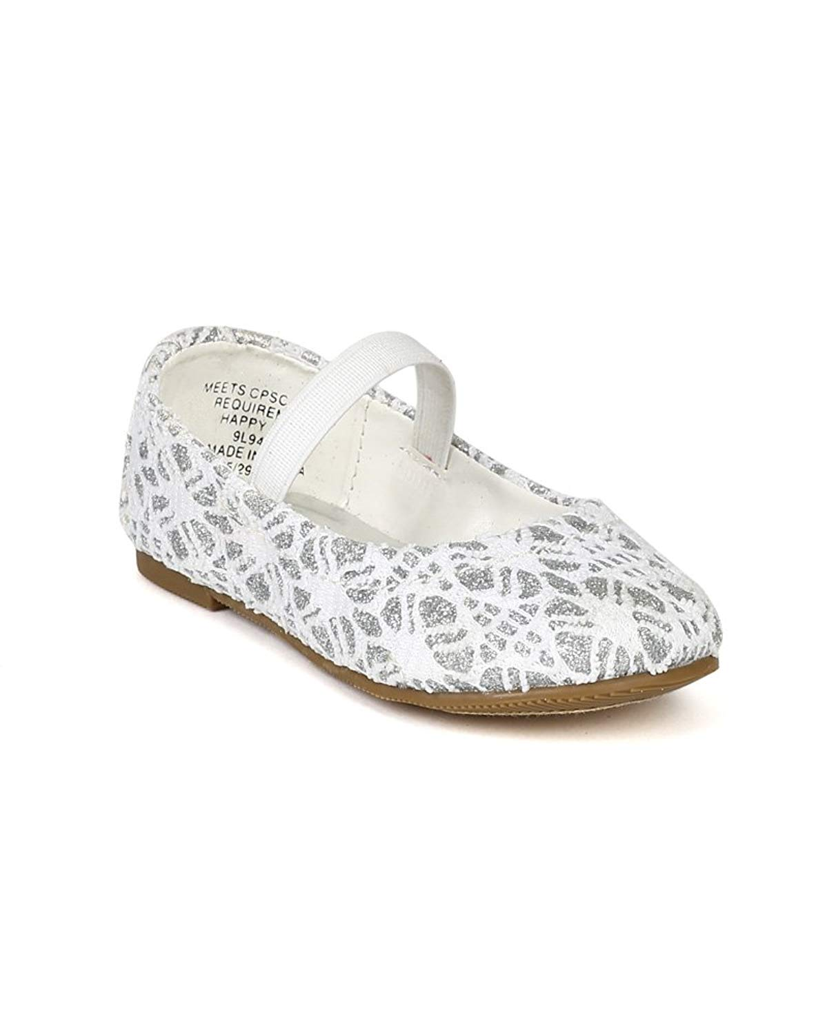 3f2af0d9cf4 Get Quotations · Happy Soda Girl Lace Round Toe Mary Jane Ballerina Flat  (Toddler) BD32 - White
