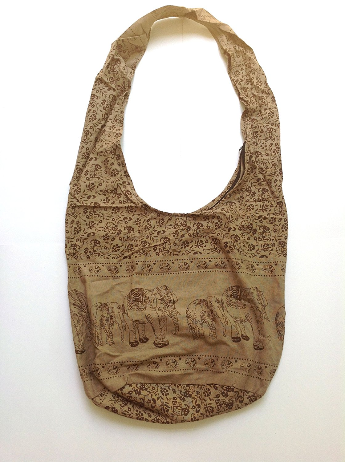 586c3c5a2a1 Big Handmade Thai Cotton Pouch Crossbody Sling Hippie Hobo Postman Shoulder  Bag Thai Elephant (Brown