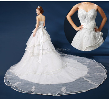 New Style Beaded A-line Sweetheart Neckline Sleeveless Long Train Lace Plus Size /Pregnant wedding dress bridal dress GS15
