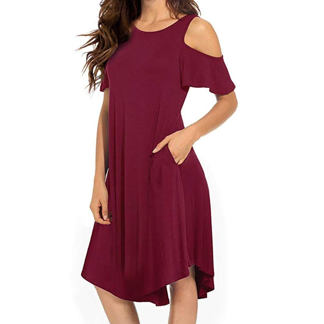 3c6fbff68ea Get Quotations · Howstar Women s Casual Daily Dress Sexy Cold Shoulder  Ruffle Dresses Knee Length Pleated Swing Shirts Dress