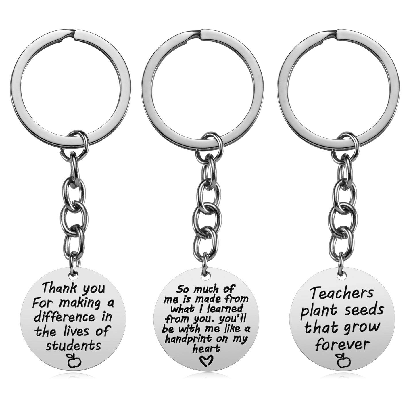 Get Quotations Teacher Appreciation Gift For Women 3pcs Heart Pendant Keychain Set Jewelry