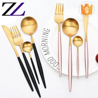 Garden home dinnerware stainless steel luxury disposable restaurant cutlery set dubai copper or gold edible tableware