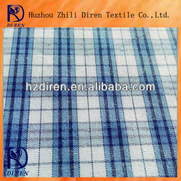 cotton and polyester 1.65%T 35%C blue white check TC fabric use for shirting fabric