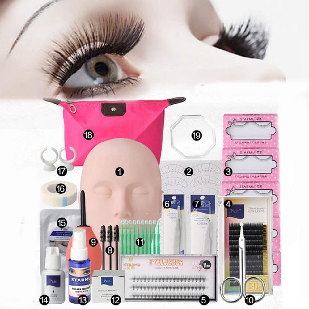 5576f24580c Get Quotations · Vinmax Pro Eyelashes Extension Kit &Grafting Eyelash Tools  Set&Full Mannequin Training Makeup False Eyelashes Extension Glue