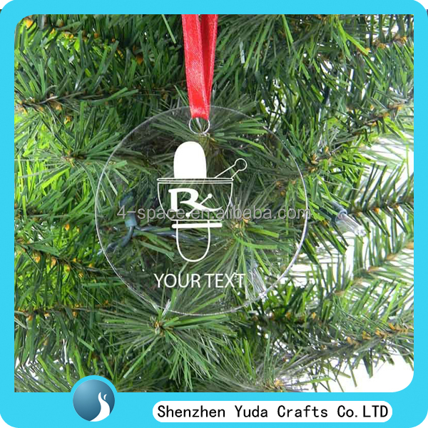 Round printing custom Acrylic Christmas Tree hanging decoration Ornament