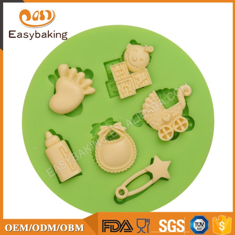ES-1220 Baby Assortment Round Silicone Molds for Fondant Cake Decorating 6 Cavities