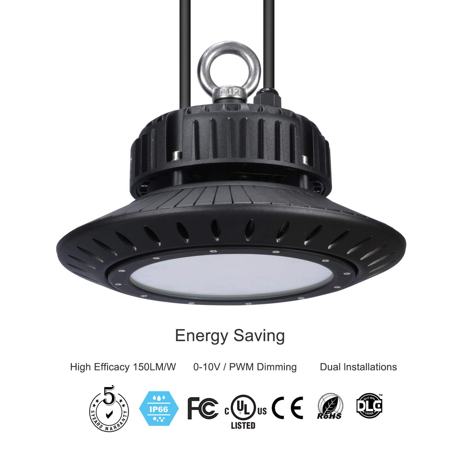 Sparkoe LED High Bay Light 150W 150Lm/W 22500Lm (180W 130Lm/W Equivalent) Dimmable 5000K Tempered Glass Cover Waterproof IP66 DLC & UL Beam Angle 120 ° Warehouse Factory Exhibition Stadium Lighting