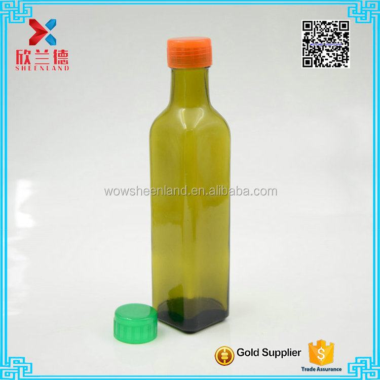 Wholesale High Quality 250ml square Glass Bottles with <strong>plastic</strong> or metal cap For Olive Oil