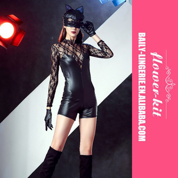 Wholesale Sexy Women Leather Catsuit Halloween Sexy Black Lace Cat Costume