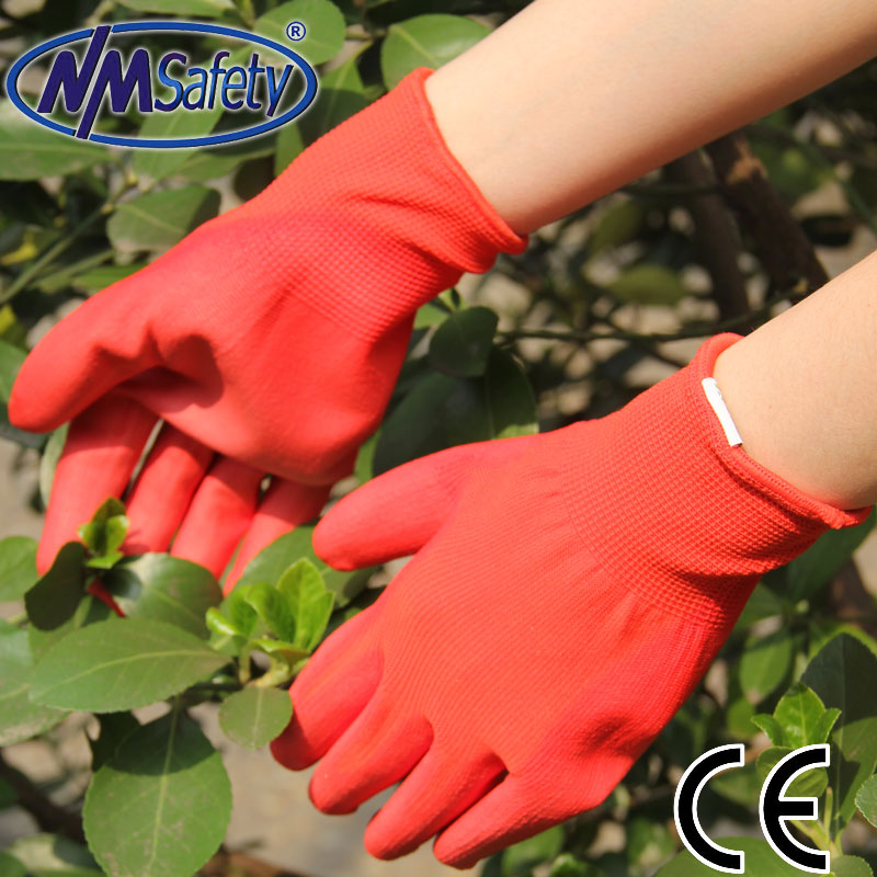 NMSAFETY light work use 13g red PU labor work gloves factory