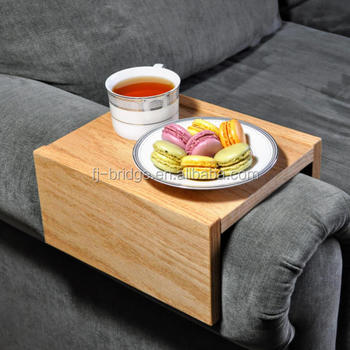 Bamboo Chair Caddy Wood Tray Armrest Couch Table Sofa Arm