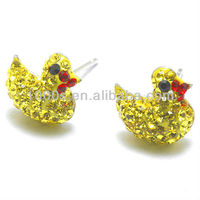 cute duck crystal studs earring, 925 silver earring