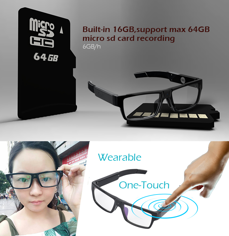 9e078fa1567fe One-Touch Photo Taken Video Glasses Camrecorder Wearable Built-in 16GB  Memory Spy