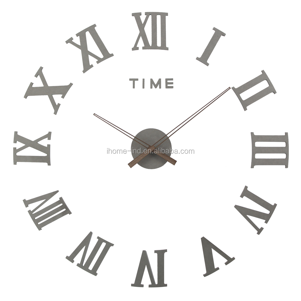 2018 New 3d DIY Wall Clock Sticker Decorative Large Size Color Wooden Wall Clock
